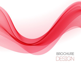 Abstract vector background with red smooth color wave.