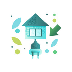 Eco house, contemporary energy efficient building vector Illustration on a white background