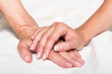 Young Woman's Hand Touching an Old Woman's Hand