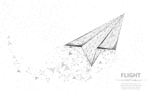 Vector Paper airplane. Abstract polygonal wireframe plane illustration on white background. Dream symbol.