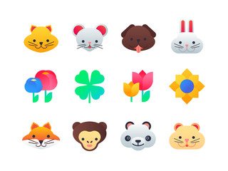 Animals and flowers - set of flat design style icons