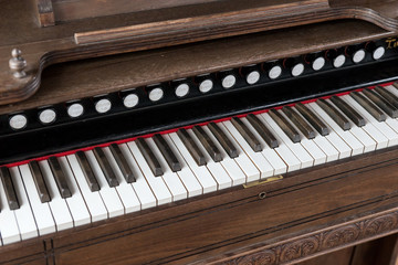 View of old piano keyboard with old retro tone