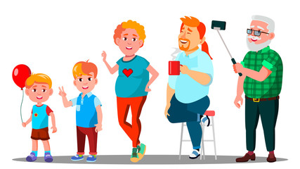 Generation Male - Grandfather, Father, Son, Grandson Vector. Isolated Illustration
