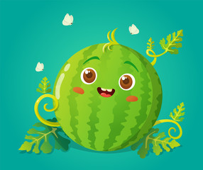 Cute watermelon character with a happy face. Vector illustration isolated on green background.
