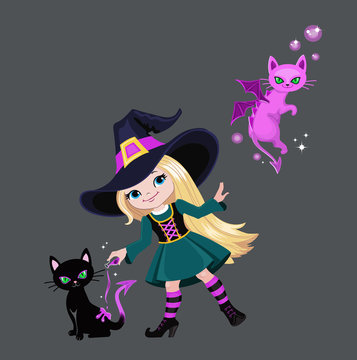 Сute witch turns a black cat into a dragon.