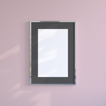 Chrome blank frame on the pink wall. Frame mock up.