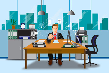 Vector illustration of businessman is working in the office.