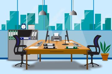 Vector illustration design of modern office designer workplace.