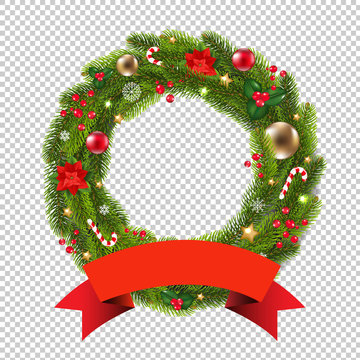 Wreath With Ribbon Transparent Background