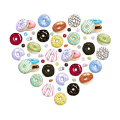 Heart of the hand painted colorful donuts