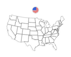 United States Of America Map. USA Vector. Black