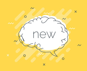 Quick Tips badge with speech bubble new brain. Trendy flat vector on yellow background. Smart concept vector illustration.