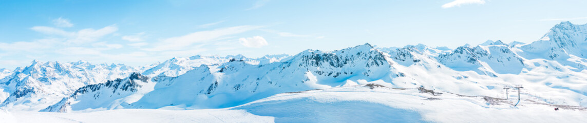 Panoramic photo of snowy mountains