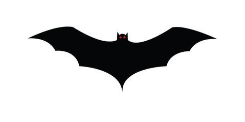Flying bat, scary cartoon Halloween illustration Vector