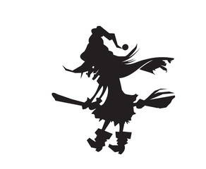 Silhouette of a witch on a broomstick