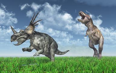 Tyrannosaurus Rex attacks Styracosaurus