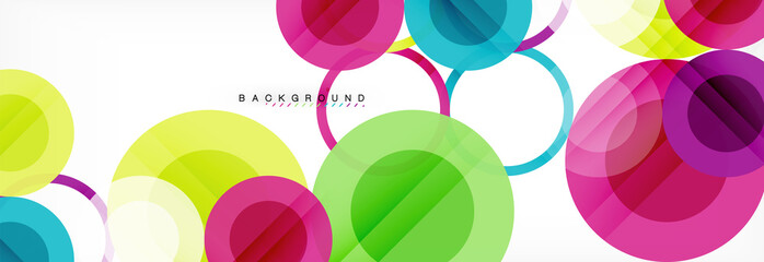 Abstract colorful geometric composition - multicolored circle background