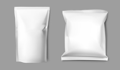 Realistic blank doy pack and pillow pack mock up. Vector illustration on gray background. Ready for your design. EPS10.