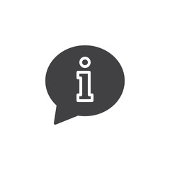 Information vector icon. filled flat sign for mobile concept and web design. Support speech bubble simple solid icon. Symbol, logo illustration. Pixel perfect vector graphics