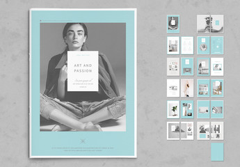 Pastel Blue and White Portfolio Layout