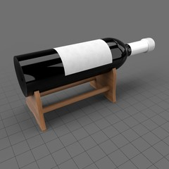 Wine bottle on wooden stand
