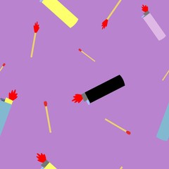 Colorfull seamless pettern of lighters and wooden matches cartoon style on pink background vector illustration