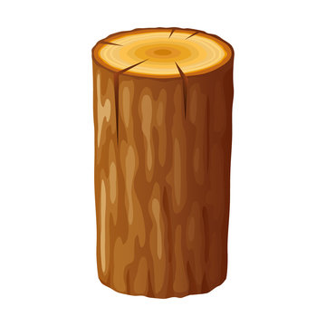 Tree, wooden stump with rings. Cut trees, isolated on white background. Vector illustration in flat style.