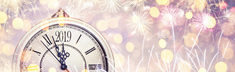 Happy New Year 2019 Celebration With Dial Clock and Fireworks