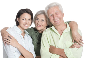 Portrait of happy senior parents with daughter, isolated