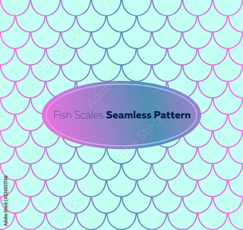 Gradient fish scales seamless pattern  Trendy mermaid