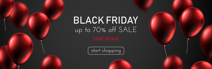 Black friday sale promotion banner with red shiny balloons.
