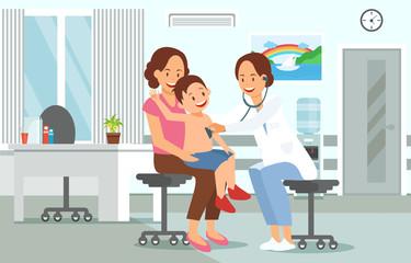 Examination by Pediatrician. Vector Illustration.