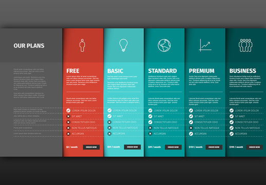 Product/Service Price Comparison Table Infographic Layout
