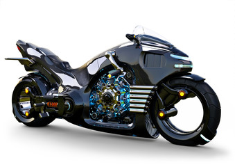Fotobehang Motorfiets Futuristic angled light cycle. Motorcycle is on an isolated white background. 3d rendering