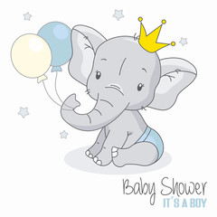 baby shower boy. Cute elephant with balloons.