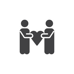 People hold heart vector icon. filled flat sign for mobile concept and web design. Solidarity simple solid icon. Love symbol, logo illustration. Pixel perfect vector graphics