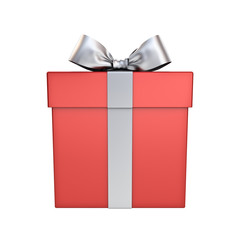 Red Gift box or Present box with silver  ribbon bow isolated on white background 3D rendering