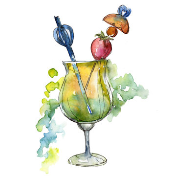 Nightclub isolated icon sketch drawing. Aquarelle cocktail drink illustration for background, texture, wrapper pattern, frame or border.