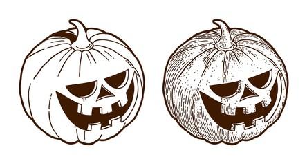 Retro monochrome drawing engraving halloween pumpkin