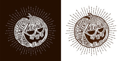 Halloween lettering pumpkin - hand-drawn vector hipster illustration with lettering.