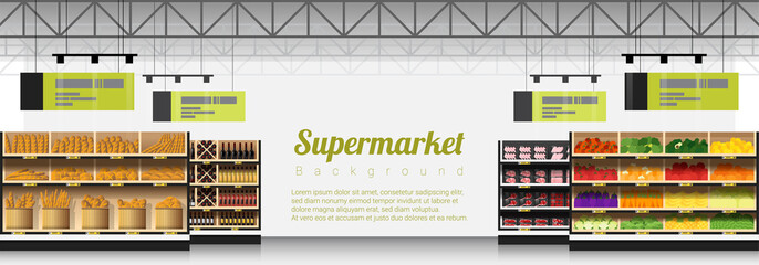 Interior scene of modern supermarket with products background , vector , illustration