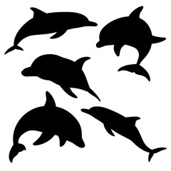 Dolphins for design and tattoo purposes, easy to use, edited and replaced. Vector illustration