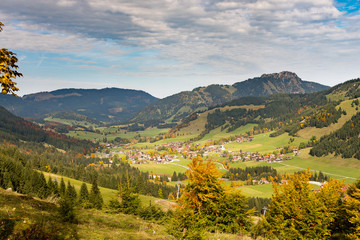 The autumnal Tannheimer valley in the Austrian Alps