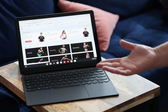 The Google Pixel Slate is seen on display after a news conference in Manhattan, New York