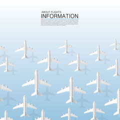 Aircraft many plane on the blue background. Vector illustration