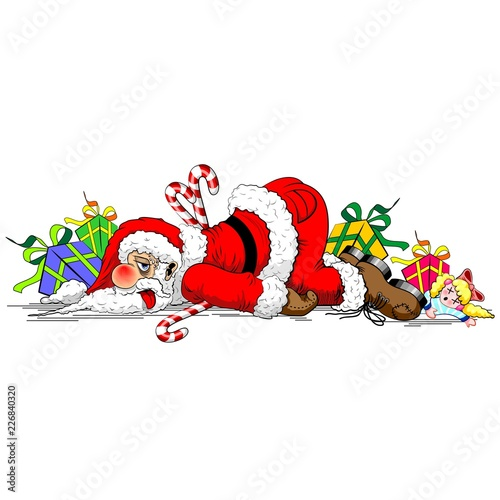 Santa Claus Exhausted Funny Character