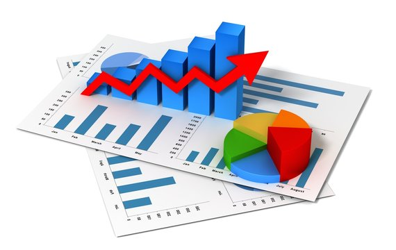 business finance graph 3d illustration