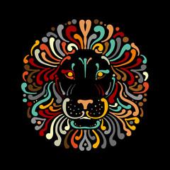 Lion face logo colorful, sketch for your design