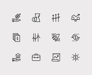 Capital icons set. Time money and capital icons with return on investment, profit and stock. Set of deposit for web app logo UI design.