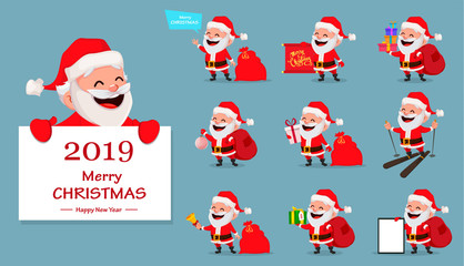 Merry Christmas. Funny Santa Claus, set